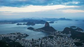 The view at dusk from corcavado towards botafogo and mt sugarloaf in rio. De janeiro, brazil stock photo