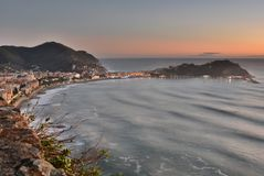 View at dusk from Rocche di Sant`Anna. Sestri Levante. Liguria, Italy. Sestri Levante is a town and comune in Liguria, Italy. Lying on the Mediterranean Sea, it royalty free stock photo
