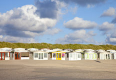 View at Dutch beach houses with sky Royalty Free Stock Photo