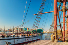 View at the Dutch Nemo museum from a historic sailing boat in Am Stock Photo