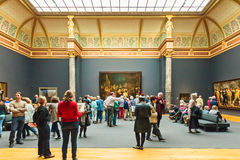 View at the Dutch Rijksmuseum hall with the Night Watch oil pain Stock Image