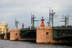 View of Dvortsovy bridge over the Neva river Royalty Free Stock Photography