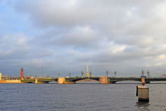 View of Dvortsovy bridge over the Neva river. SAINT-PETERSBURG, RUSSIA - DECEMBER 10, 2014: View of Dvortsovy bridge over the Neva river, historical city center stock photography