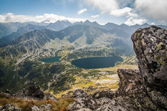View from Eagle`s Path in Tatra Mountains to Five Polish Ponds Valley Stock Photo