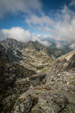 View from Eagle`s Path in Tatra Mountains to Gąsienicowa Valley Stock Image