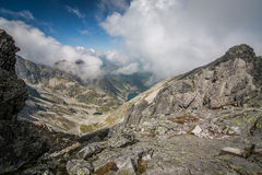 View from Eagle`s Path in Tatra Mountains to Gąsienicowa Valley Royalty Free Stock Photo