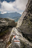 View from Eagle`s Path in Tatra Mountains to Gąsienicowa Valley Stock Photo