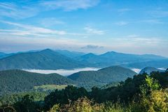 Early Morning Fog on the James River. A view of early morning fog on the James located the Blue Ridge Parkway, Virginia, USA royalty free stock photo