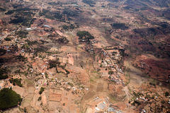 View of the earth landscape, Madagascar coast. View from plane to the dead earth landscape Madagascar near Antananarivo, Deforestation is an global environmental royalty free stock images