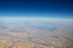 View of earth from plane in sky Stock Photos