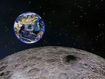 Earth seen from the Moon Stock Images