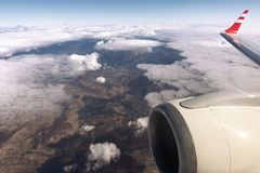 View on earth from the window of the airplane. snow mountain ran. Ge in Georgia royalty free stock photos
