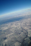 View of Earth from , winter. View of Earth from a height covered with snow during the winter season stock images