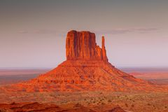 View on East Mitten Butte in Monument Valley. Arizona. View on East Mitten Butte at sunrise. Navajo Park of Monument Valley. Arizona, USA royalty free stock photos
