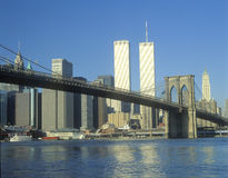 View from East River of the Brooklyn Bridge and skyline in New York City, New York Royalty Free Stock Image