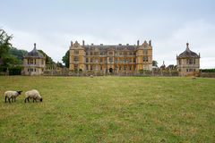 View of east Side of Montacute House including fields Stock Images