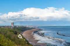 A View of Eastbourne. Looking out over Eastbourne and its beach from a nearby hillside royalty free stock photography