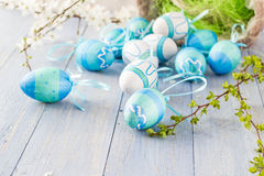 View Easter eggs spring branches Stock Photos