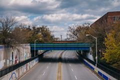 View of Eastern Avenue in Highlandtown, Baltimore, Maryland.  stock photography