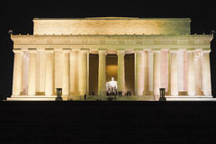 View of the eastern facade of the Lincoln Memorial illuminated at night-time Royalty Free Stock Images