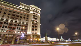 View of the eastern facade of the old Hotel Moskva. Night timelapse hyperlapse. Moscow, Russia 4K stock footage
