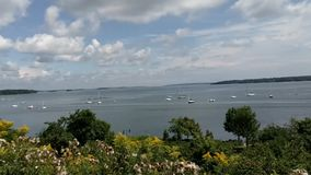 Eastern Promenade Trail. A view from the Eastern Prom Trail in Portland, Maine stock video