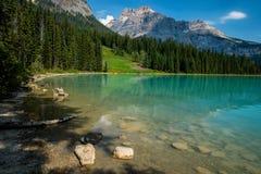 Eastern shoreline, emerald lake, canada stock photos