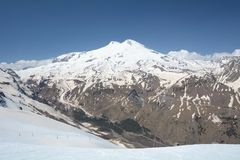 View of mountain Elbrus. Russia. View of the eastern and western peaks of Mount Elbrus Stock Photography