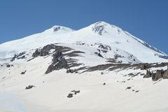 View of mountain Elbrus. Russia. View of the eastern and western peaks of Mount Elbrus Stock Photo