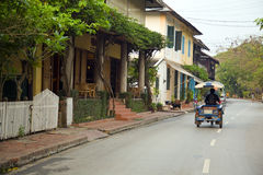 View of easy going relax Luang Prabang streets, Laos Royalty Free Stock Image