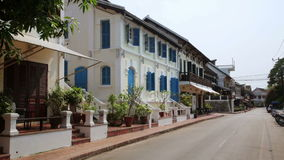 View of easy going relax Luang Prabang streets,Laos. Day time stock video