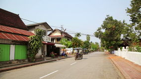 View of easy going relax Luang Prabang streets,Laos. Day time stock footage