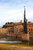 View of Ebre in Tortosa, Spain. Monument to Battle of the Ebro at river royalty free stock image