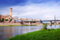 View of Ebro  with bridge in Tortosa. Catalonia Royalty Free Stock Photography
