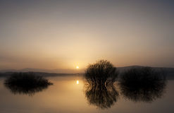 View of the Ebro reservoir at the sunset, Spain Stock Images