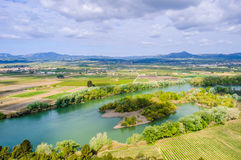 View of the Ebro River near Tivissa, Spain. View of the Ebro River from a hill near Tivissa in Catalonia, Spain Stock Photo