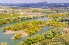 View of the Ebro River near Tivissa, Spain stock photos
