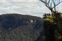View of echo point of three sisters from spooners lookout. Three Sisters are an unusual rock formation in the Blue Mountains. View of echo point of three royalty free stock images