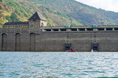 View from the Edersee to the dam Royalty Free Stock Photography