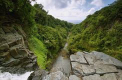 View from the edge of Makahiku falls in Waimoku falls trail. Maui island, Hawaii stock image