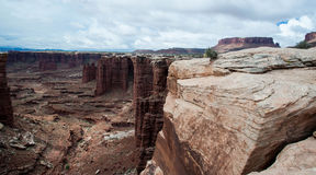 View from edge of the White Rim into the canyon Royalty Free Stock Image