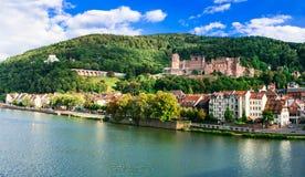 View of edieval Heidelberg town with castle. Landmarks of German Stock Photo