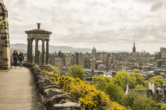 View of Edinburgh from Calton Hill. In spring Stock Images