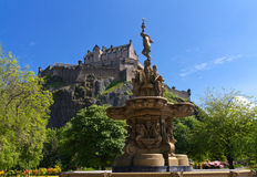 View of Edinburgh Castle. From Princes Street Gardens with the Ross Fountain, Scotland, Europe Stock Image