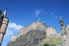 View of Edinburgh Castle. View of the Rock Castle from down town, Edinburgh, United Kingdom Stock Photos