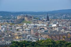 View on Edinburgh castle and the old town from Arthurs Seat, Sco Royalty Free Stock Photography