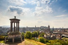 View of Edinburgh city from Calton Hill, Scotland royalty free stock images