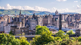 View of Edinburgh city on Calton Hill, Scotland. Stock Images