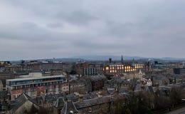 View of Edinburgh cityscape. Landscape of Edinburgh city at dusk royalty free stock photo