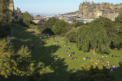 View on Edinburgh with Princess Street Gardens royalty free stock photography
